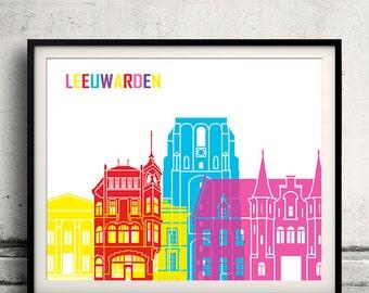 Leeuwarden pop art skyline 8x10 in. to 12x16 in. Fine Art Print Glicee Poster Gift Illustration Pop Art Colorful Landmarks - SKU 1164