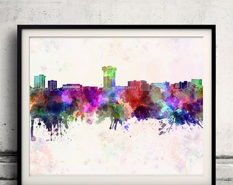 Springfield MO skyline in watercolor background - Poster Digital Wall art Illustration Print Art Decorative - SKU 1353