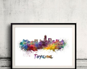 Toyama skyline in watercolor over white background with name of city - Poster Wall art Illustration Print - SKU 1567