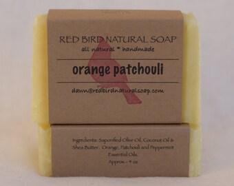 Orange/Patchouli Soap - Handcrafted, Hot Process, All Natural Soap, Orange, Patchouli & Peppermint Essential Oil