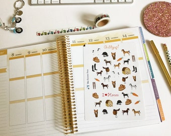 Horseback Riding Equestrian Stickers! 40 MATTE Planner Stickers.