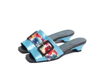 Light blue mules shoes with clasp, Floral mules, Women shoes for women flower clogs shoes, Soft blue mules, Summer shoes, Blossom shoes