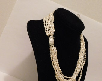 "Vintage Seven Strands of Rice Pearl 16"" Necklace."