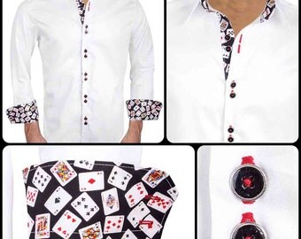 White with Poker Accent Fabric Dress Shirts - Made in USA