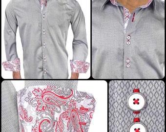 Gray Diamond Cotton with Red Paisley Designer Dress Shirt - Made in USA