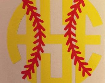 Softball initials car window decal