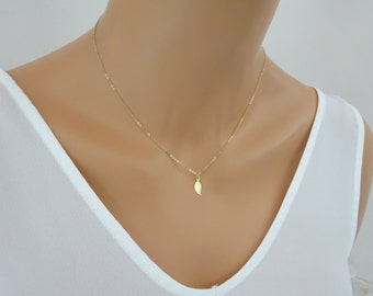 Tiny Gold leaf necklace, Gold fill leaf necklace, dainty necklace, simple gold necklace,  leaf jewellery, layering necklace