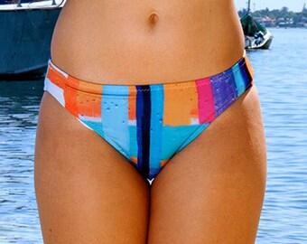 Colourful Bikini Bottoms // Blue Hipster Pants // Swimsuit Bottoms // Bikini Briefs // Two Piece Swimsuit // Women's Modest Swimwear Bottoms