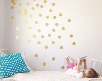 Gold polka dot decal, Polka Dot Wall Decal, Gold dot decals, Gold dots  pattern, Nursery wall decal, polka dot decals, Gold circle decals,