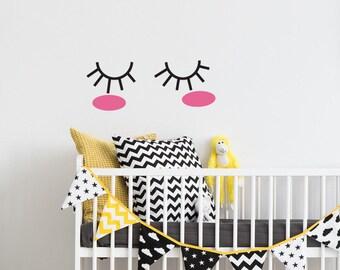 Eyelashes wall, eyelashes wall art, nursery gift, baby gift, nursery room decor, girls room decor, sleepy eyes,  eyelash nursery decal  #091