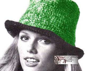 Crochet Fedora Hat Pattern Vintage 1960s Cap Tam Beret PDF