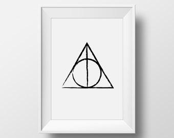 Deathly Hallows, Harry Potter Deathly Hallows, Deathly Hallows Print, Harry Potter Printable, Harry Potter Art Print,Harry Potter Home Decor