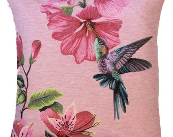 Hummingbird Pillow Cover - Hummingbird and Flower Cushion Cover - Pink Pillow Cover - 18x18 Belgian Tapestry Pillow Case PC-5371