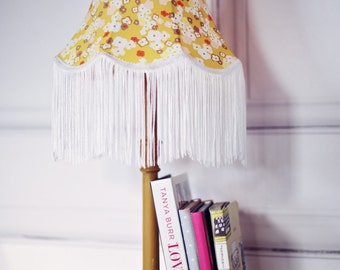 Yellow Lampshade, victorian lampshade, yellow fabric lamp, fringe lampshade, vintage lamp shades, mustard vintage decor, fall home decor