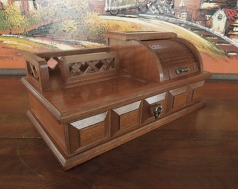 Vintage Man's Wooden Jewelry Box Men's Valet JB0128