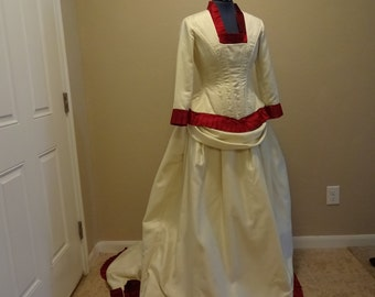 Victorian Style Ivory Wedding Dress 1900's INSPIRED BUSTLE GOWN
