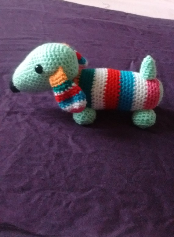 Knitted crochet stripy dachshund sausage by ...