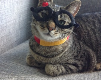 Harry Potter Style Costume for Cats- Glasses and Collar Set