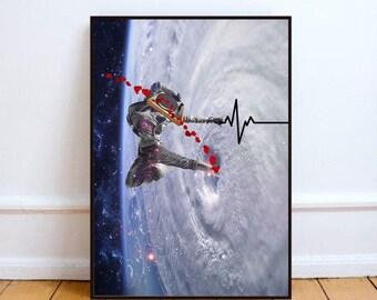 "Hip hop poster, lifeline art print, surreal collage art, space art, mixed media collage, surreal art, space print - ""You are my lifeline""."