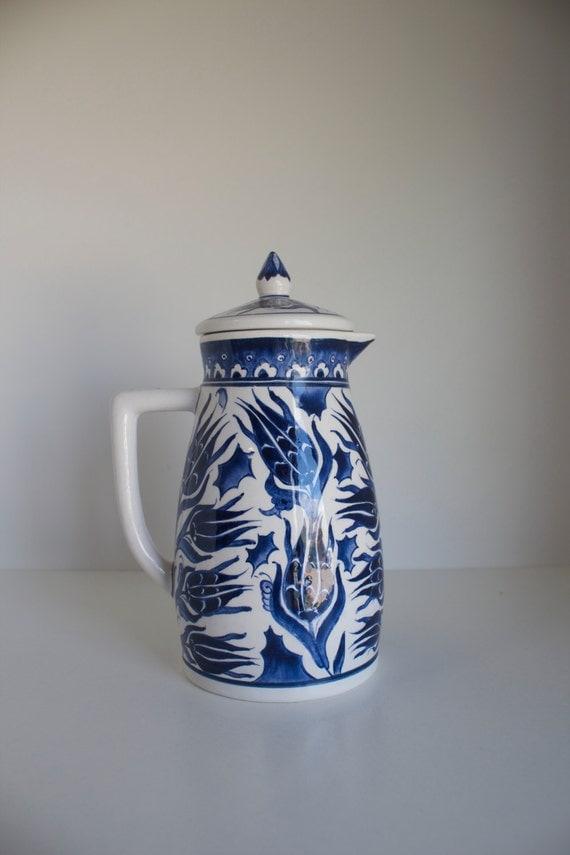 Ceramic Pitcher, Floral Design Pottery Pitcher, Decanter, Pitcher, Jug, Jar, Serving Decanter, Ceramic Jug, Blue White Drinkware, Serving