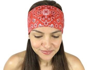 Yoga Headband Red Bandana Headband No Slip Headband Workout Headband Fitness Headband Hippie Headband Hair Accessories Festival Headband S79