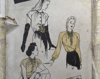 Vintage 40s Blouse Pattern Bust 34 Size 16 - Butterick 2959-  Rockabilly 1940s blouse