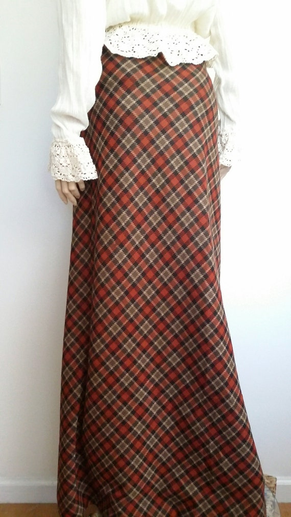 plaid maxi skirt l wool maxi skirt plaid by surrendertothe70s
