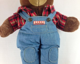 "Agway Bear Stuffed Teddy Plush 15"" Patriot Flannel Overalls 1994 Toy 90s"