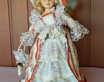 Vintage Porcelain Collectible Doll 1970's Retro Doll