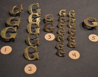 Vintage Solid Brass and Nickel Harness Letters - G