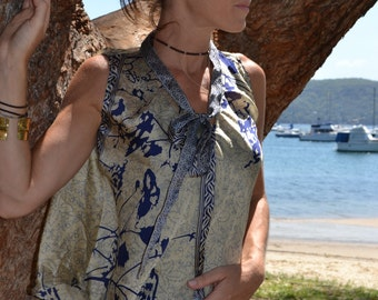 SALE Beige and Blue flower patterned silk top with neck tie feature - 'WIllow'