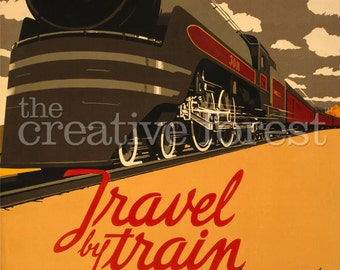 Travel By Train Vintage Railroad Travel Poster Rolled Canvas Giclee Print 24x33 in.