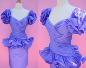 Purple 80s Prom Party Dress w/Ruffles // Vintage 1980s Cocktail Bridesmaid Dress Woman Size Small Medium