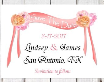 Save the date, wedding announcements, Floral Save the Date cards, destination wedding announcements, pink and coral, wedding announcements