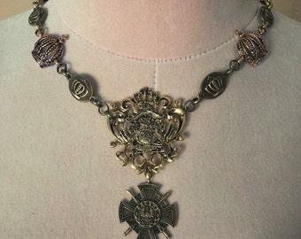 Royal Ascension Crown Emblem Necklace (antique gold tone)
