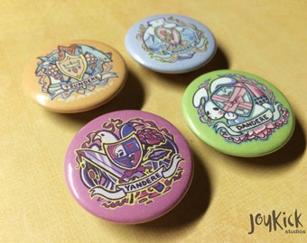 Dere Crest Pinback Buttons - Choose one - Tsundere, Kuudere, Yandere, or Dandere - Kawaii Anime Personality Trope, Deredere Coat of Arms