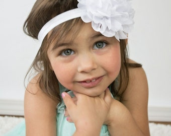 White flower headband - large flower headband - baby hair band - infant headband - girls hair band - chiffon headband - stretchy hair band
