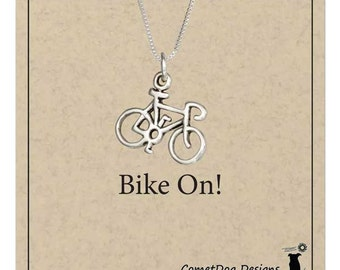 Sterling Silver Bicycle Pendant Necklace