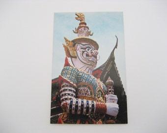 Bangkok Postcard Giant Guardian Postcard at Wat Phra Keo Postcard Emerald Buddha Temple Postcard Paper Ephemera Unused Vintage Postcard