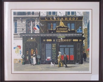 """Artist's Proof Bruce Bomberger SIGNED Lithograph """"L'Escargot"""" with Wood Frame"""