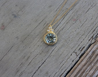 Green Amethyst Pendant 18k Yellow Gold - Green Amethyst and Diamond Pendant - Gifts for Women