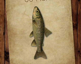 Go Fish Print, Fish Wall Art, Fish Print, Scripture Verse Fish-Themed Print, Scripture Wall art