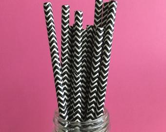 80 Paper Straws Perfect for Valentine's Day, Black Chevron Straws, Party, Wedding, Black & White Paper Straws,