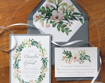 Watercolor Floral Wedding Invitations (50 Invitation Suites)