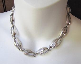 Bogoff Silver Tone Choker, Signed Bogoff, Vintage Bogoff Necklace, Adjustable, 1950's, Midcentury Choker, Open Modern Design,