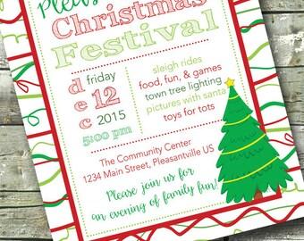 Community Christmas Festival ~ Tree Lighting ~ Holiday Party ~ 5x7 Invite ~ 8.5x11 Flyer ~ 11x14 Poster ~ 300 dpi Digital Invitation