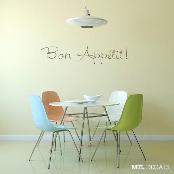 Dining Room Wall Decor Etsy : Bon appetit wall decal dining room decor sticker
