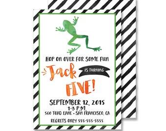 Frog Birthday Printed Invitation - Customized 5x7 Hop on Over Reptile Boy Watercolor Orange Black Green Stripe Preppy
