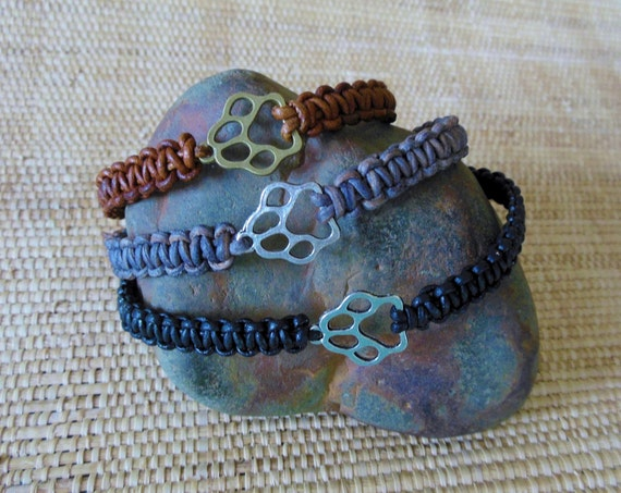 Woven Leather Paw Print Bracelet