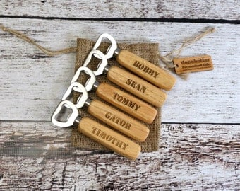 Set of 5 Wooden Personalized Bottle Opener for Groomsmen, Friends, Bar Gifts, Gifts for Men, wedding Favors, Bar Ware, Party Favors